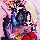 Flowers, fruit with bread and cheese, watercolor by Anna  Lewis