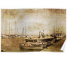 Moraira Harbour, Spain in sepia grunge Poster