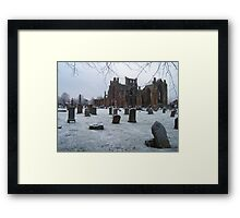 Snowfall at Melrose Abbey, the Scottish Borders  Framed Print