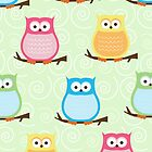 Trendy Owls Note Card in Green by JessDesigns
