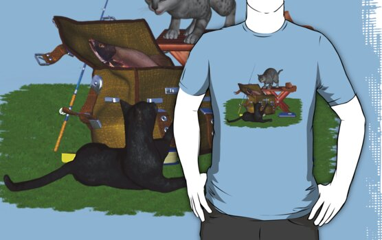 Cats a Fishing .. T-shirt by LoneAngel