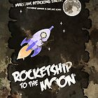 Rocketship to the Moon - Textured Print by Adam Angold