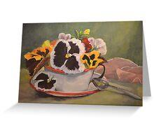 Tin Cup Pansy Tea Greeting Card
