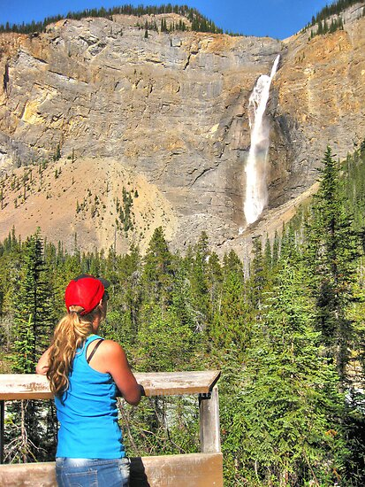 Gazing at Takakkaw falls by Erykah36