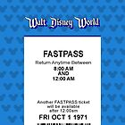 Walt Disney World&#x27;s Opening Day Fastpass (Blue) by Rechenmacher