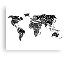 World Text Map Canvas Print