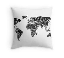 World Text Map Throw Pillow