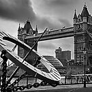 Tower Bridge And Sundial Black and White by Dean Messenger