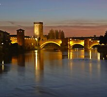 A night walk in Verona: View of Adige River and Castelvecchio Bridge from Ponte della Vittoria  by presbi
