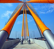 Cable Stayed Bridge with Orange Clad Cables by fotogenicdesign