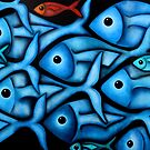Large Blue Fish School by Georgie Greene