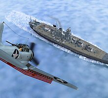 SBD Dive Bomber and the Japanese Battleship Yamato by Walter Colvin