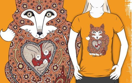 Floral Fox Cub Tee by Anita Inverarity