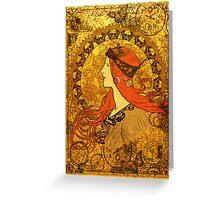 Steampunk Zodiac (Mucha Homage) Greeting Card