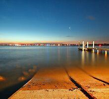Swansea Channel by night by Tam  Locke