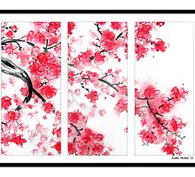 Cherry Blossom Tryptich by Kathie Nichols
