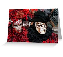 Venice - Carnival Mask 2012....02 - Couple in Red   Greeting Card