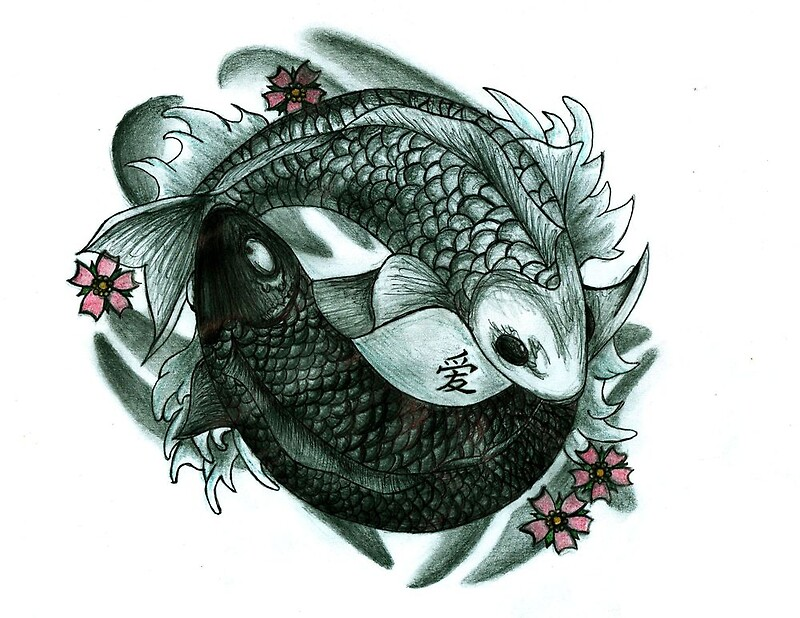 koi fish yin and yang by chloeosity redbubble