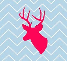 Neon Pink Deer Silhouette  by runninragged