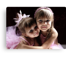 Sisters Wearing Pink Canvas Print