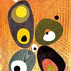 Orange mid century style abstract illustration citrus colors  by bearoberts
