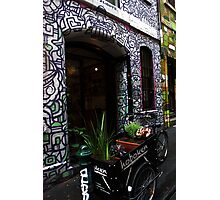 Graffiti Alley Flower Cart Photographic Print