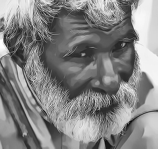 Old Man Digital Portrait by David Alexander Elder
