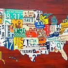 License Plate Map of The United States 2012 Red Version by designturnpike