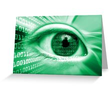ON THE NET GREEN BINARY EYE GRAPHIC DESIGN Greeting Card