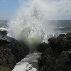 Wave at Spouting Rock by MaryinMaine