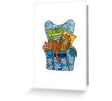 Our Couch ~ don't mess with the kitties! Greeting Card