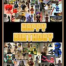 Happy Birthday Greeting Card, Montage of Custom LEGO Minifigs, by Customize My Minifig by Chillee