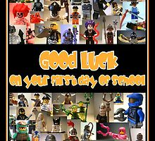 Good Luck on your First Day of School Greeting Card, a Montage of Custom LEGO® Minifigs by Customize My Minifig by Chillee