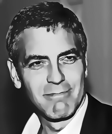 George Clooney Digital Art Portrait by David Alexander Elder