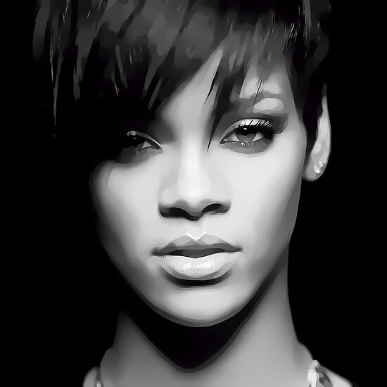 Rihanna Digital Art Portrait by David Alexander Elder