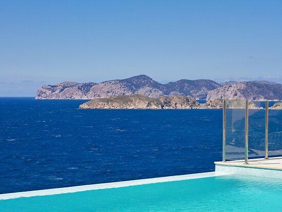 Infinity pool overlooking the Mediterranean Sea by Philip  Rogan