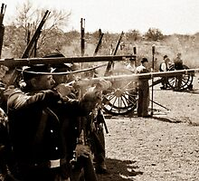 Union Troops Firing Line by J. Michael Runyon