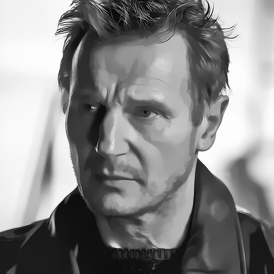 Liam Neeson Digital Art Portrait by David Alexander Elder