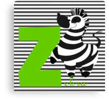 z for zebra Canvas Print