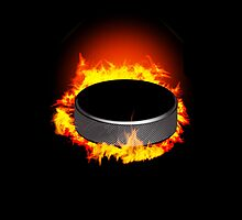 Burning Hockey Puck  iPhone 5 / iPhone 4 Case  / Samsung Galaxy Cases / Pillow / Tote Bag  by CroDesign