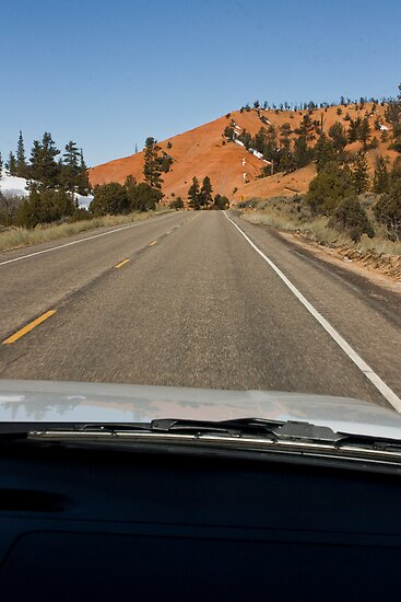 Driving Through Red Canyon by Robert Noll
