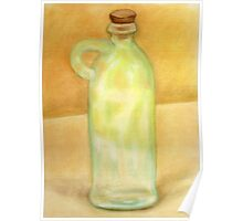 Glass bottle against a yellow wall Poster