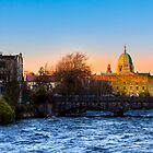Galway Cathedral - Sunset On The River Corrib by Mark Tisdale
