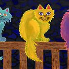 Fence Cats by Lisa Frances Judd ~ Original Australian Art