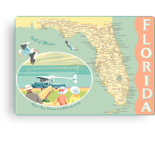 Florida Map with Dinner Key Canvas Print