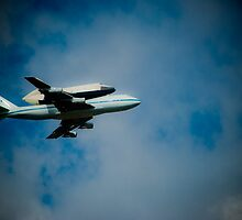 Shuttle Flying Over NYC by Gustavo Bernal