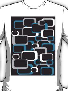 Blue, Gray and White Retro Square T-Shirt