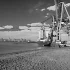 Felixstowe Docks Black and white by Chris  Hayworth