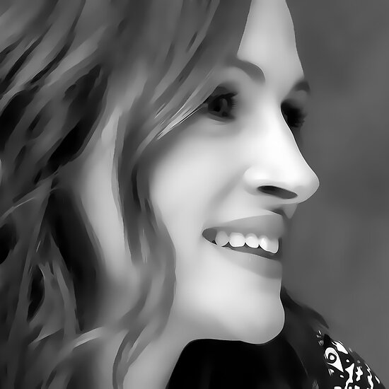 Julia Roberts Digital Art Portrait by David Alexander Elder by David Alexander Elder