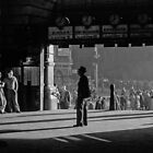 Clockwatcher Flinders Street Station B &amp; W 1958 by Fred Mitchell